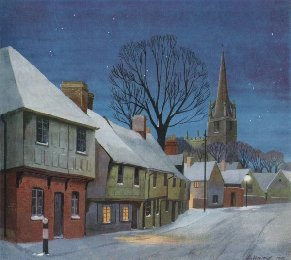 Saffron Walden in Essex, East Anglia, UK, featuring a street of half-timbered houses with pageting (the decorative plaster work typical of the region) covered with snow on a peaceful starry evening
