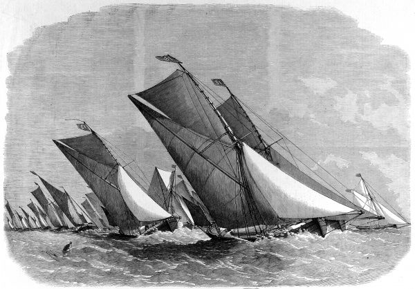 Engraving of a sailing barge match on the Thames, from the Illustrated London News, 23rd July 1864