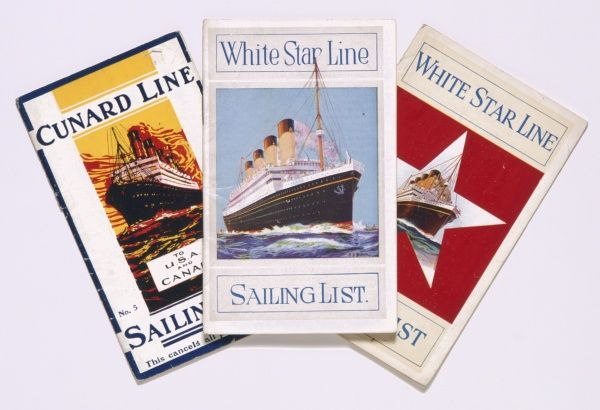 Three sailing lists, two for the White Star Line, one for the Cunard Line