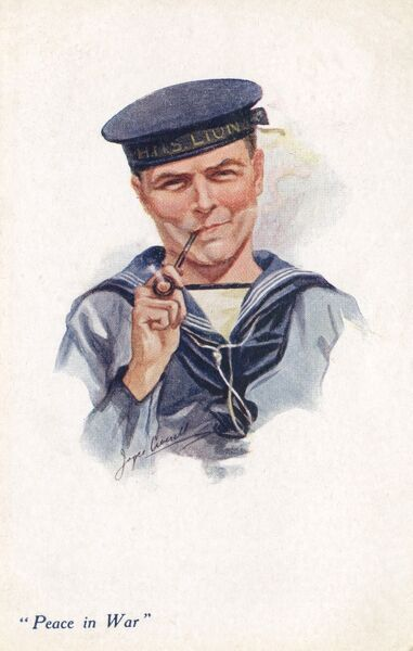 "Sailor from HMS Lion smoking his pipe - this card is captioned: ""Peace in War."" Date: 1917"