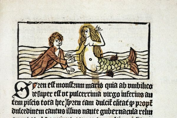 Dyalogus creaturarum moralizatus, 1484, the first printed book in Sweden. The author was the Italian Maynus de Mayneriis (dead 1370). This woodcut illustrates the morality about the sailor and the siren. Date: 1484