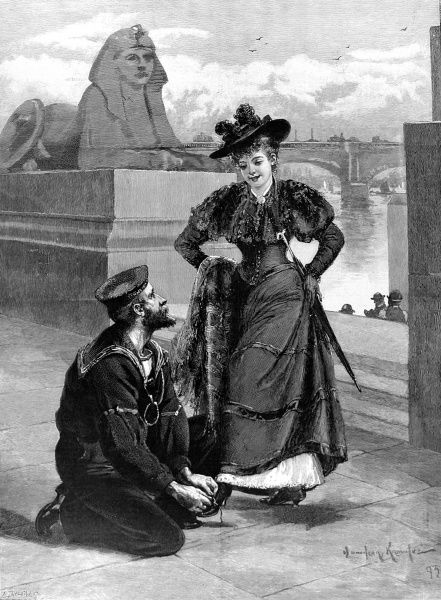Engraving showing a British sailor bending to tie a Victorian lady's shoelace, on the Thames Embankment, London, 1893. This image, by Davidson Knowles, was originally entitled 'A Sailor's Knot&#39