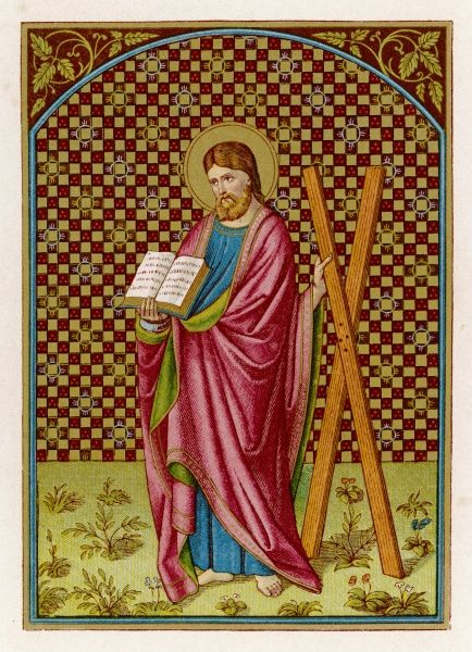 SAINT ANDREW Apostle, martyr, saint, depicted with his cross