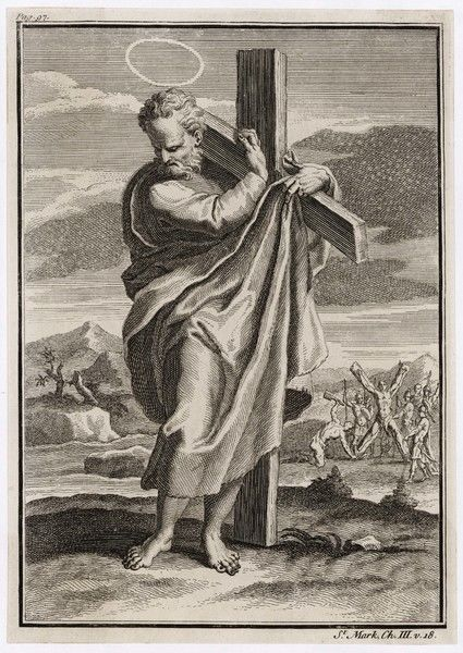 SAINT ANDREW patron saint of Scotland, martyred on a splayed-out cross