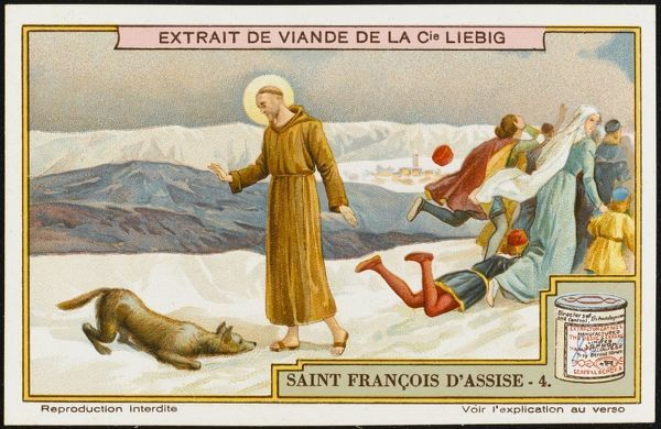 Saint Francis of Assisi befriends the Wolf of Gubbio, who has been terrorising and killing the townspeople, and obtains a promise that it will do no more harm
