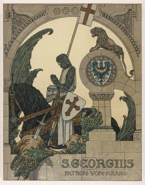 SAINT GEORGE praying after slaying the dragon