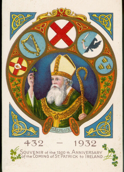 SAINT PATRICK postcard commemorating his coming to Ireland 1500 years previously