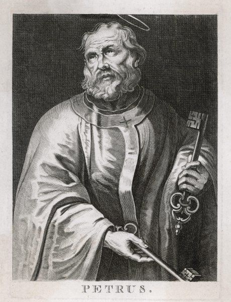 SAINT PETER the first Pope, depicted holding the Keys of the Kingdom entrusted to him by Jesus