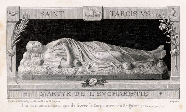 SAINT TARCISIUS Roman Christian who was killed by passers-by as he carried The Host through the streets, during a period when Christians were persecuted
