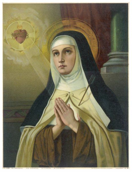 SAINT TERESA OF AVILA depicted enraptured in contemplation of the sacred heart of Jesus : her own heart is bleeding due to being pierced by an arrow