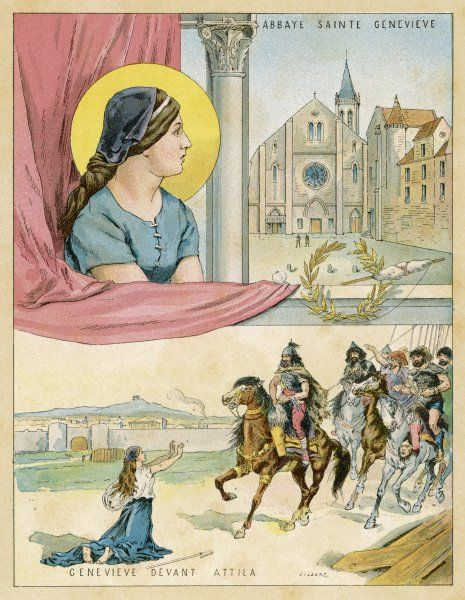 FRENCH NUN AND SAINT The abbaye Sainte Genevieve : Genevieve implores Attila to be merciful and spare the city of Paris : this is almost certainly pure legend
