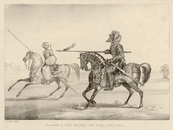 SALAH AD-DIN YUSUF IBN AYYUB Saladin on horseback (l) accompanied by Sir Kenneth, Earl of Huntingdon, Prince Royal of Scotland; incognito as the Knight of the Leopard