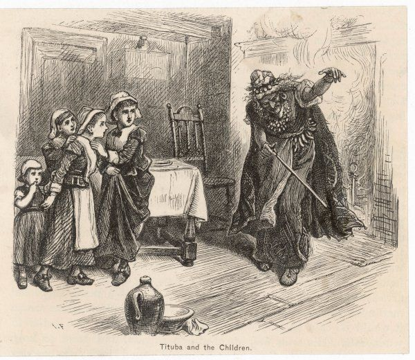 Tituba's tales alarm the children, who accuse her of being a witch