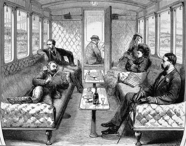 The new saloon carriage on the London, Brighton and South Coast Railway. First class travel in luxurious surroundings