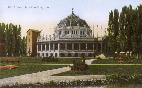 The Salt Palace, Salt Lake City, Utah, USA. Destroyed by fire on August 29th, 1910. Date: circa 1908