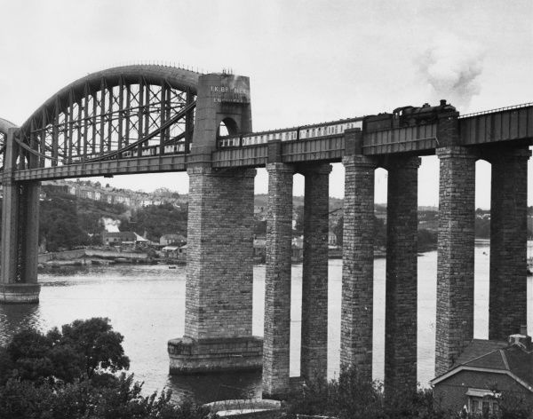 The Cornish Riviera Express steam train crossing Brunel's Saltash viaduct