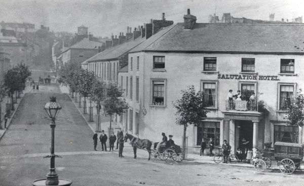 View of Salutation Square in Haverfordwest, Pembrokeshire, Dyfed, South Wales