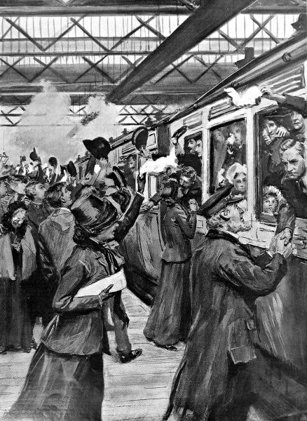 Illustration showing a farewell scene at Euston station as Salvation Army emigrants were waved off to their ship, the 'Vancouver', in Liverpool, 1905