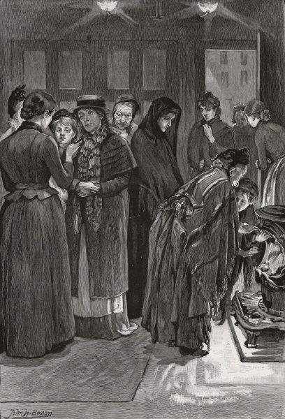 Inside the entrance of the Salvation Army night shelter for women, opened in 1889 at 194 Hanbury Street, Whitechapel in the East End of London. One of the shelter's staff is giving an applicant for admission a 'straight talk&#39