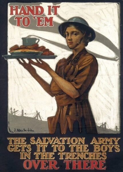World War I poster requesting the public to donate food and supplies to the Salvation Army who will distribute to soldiers fighting in France