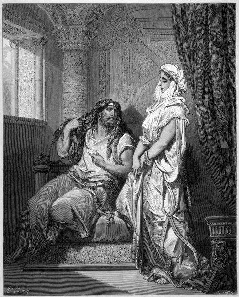 Samson explains the secret of his long hair to Delilah
