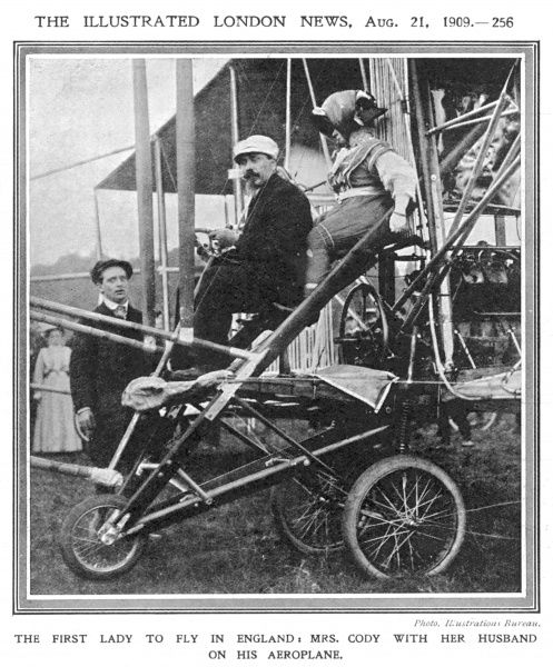 At Laffan's Plain, Aldershot in Hampshire, Mrs Cody, (as a passenger) becomes the first woman ever to fly in England