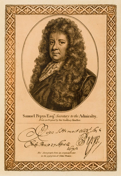 SAMUEL PEPYS statesman, secretary to the Admiralty, kept a diary. with his autograph