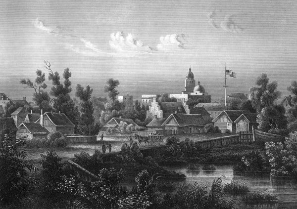 The peaceful little Texas town of San Antonio will change a bit in the 150 years since this view was drawn... Date: 1850