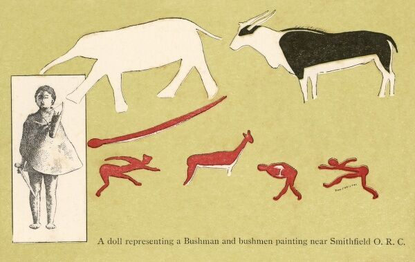 San Bushmen rock painting from Smithfield, Southern Africa depicting people, an elephant and an eland antelope and a doll representing a bushman. Date: circa 1910s