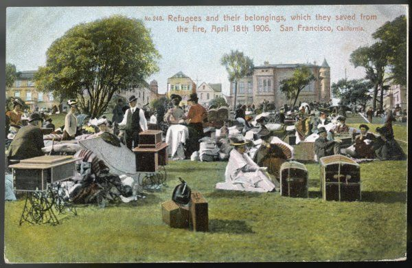 San Francisco - 'Refugees and their belongings, which they saved from the fire, April 18th 1906&#39