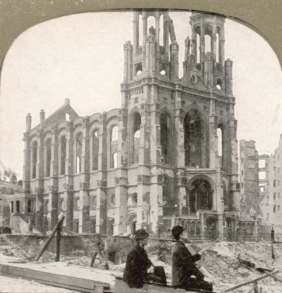 View of the ruined Synagogue after the San Francisco earthquake. Following the earthquake, the city was badly damaged by fire