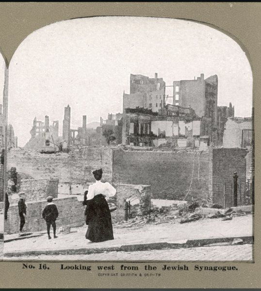 The ruined city : looking west from the Jewish synagogue