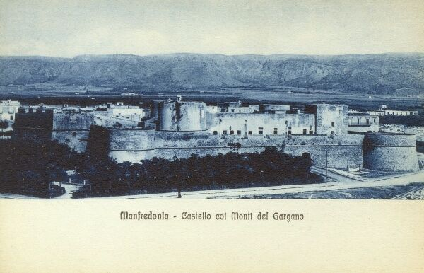 Manfredonia, Puglia, Italy, in the province of Foggia. Coastal town to the south of Monte Gargano. This card shows the medieval castle, begun by the Hohenstaufen and completed by the Angevins, with new walls, built in the 15th century. Date