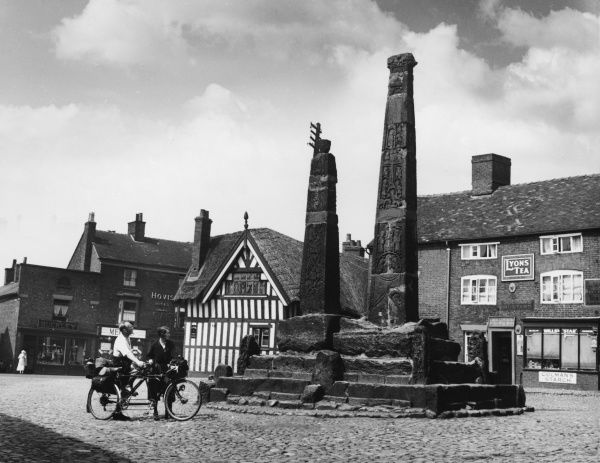 In the market square of Sandbach, Cheshire, are these two Anglian Crosses, completed in the 9th century to commemorate the advent of Christianity in 653 A.D