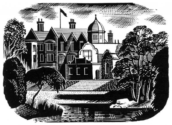 Etching of Sandringham Estate, country retreat of the royal family, one of a series of five illustrations of the Queen's residences. Date: 1953
