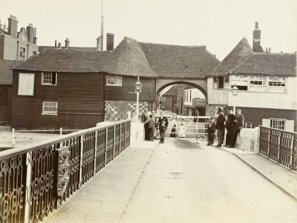 The bridge and barbican at Sandwich, Kent, one of the Cinque Ports