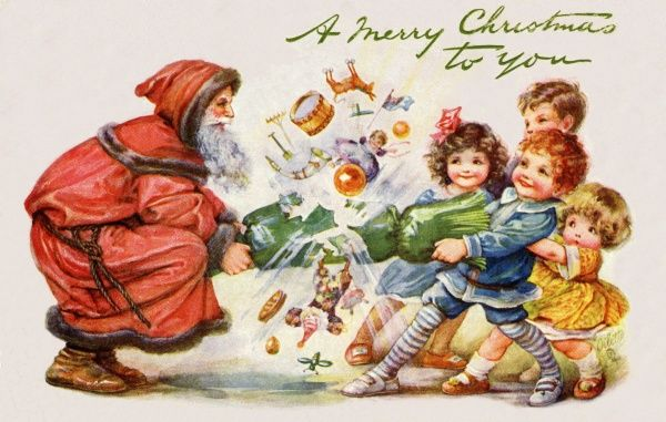 Santa Claus and four children pulling a Christmas cracker. early 20th century