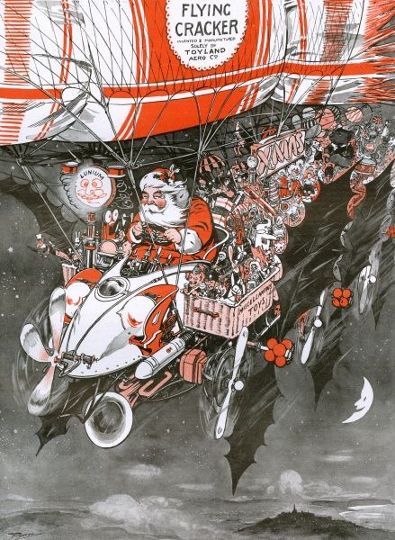 A colour illustration showing Father Christmas speeding up his deliveries by using a flying machine as his sleigh. Date: 23rd November 1907