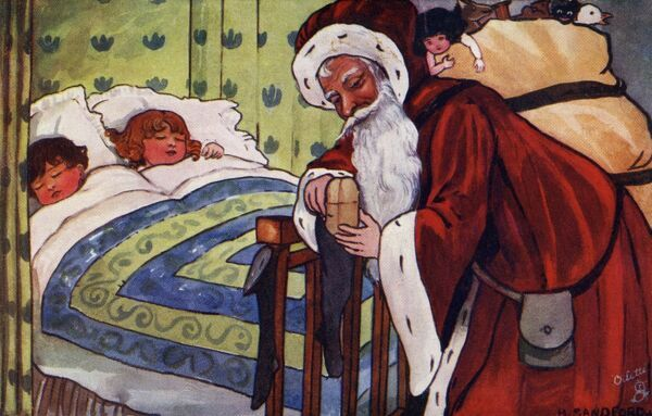 Santa filling the stockings by Hilda Dix Sandford. Illustration from a postcard by Hilda Dix Sandford (1875-1946). She specialised illustrating children at play. circa 1909