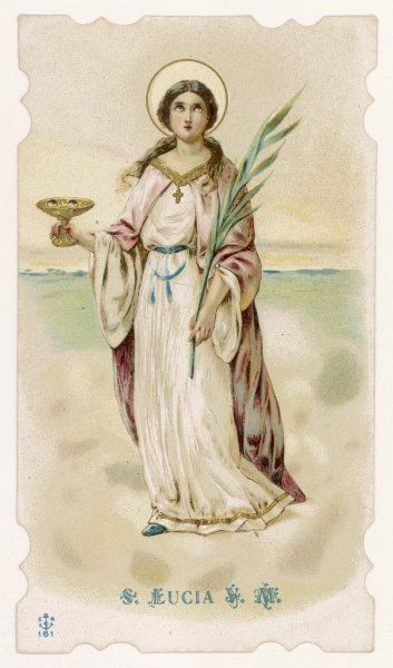 SANTA LUCIA depicted carrying her eyes, of which she was deprived when she refused to abandon the Christian faith