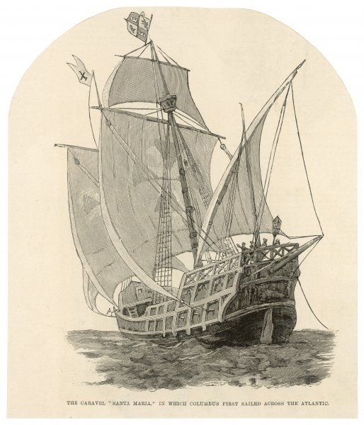 The caravel 'Santa Maria', in which Columbus first sailed across the Atlantic