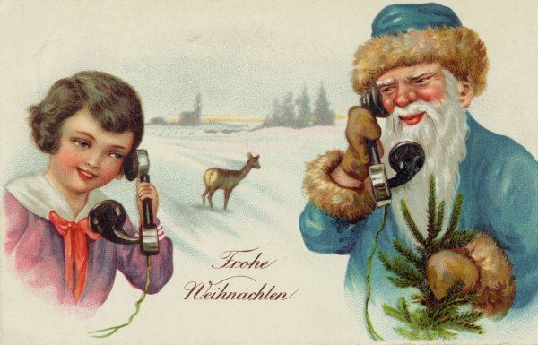 Santa Claus receives a phone call from a young admirer