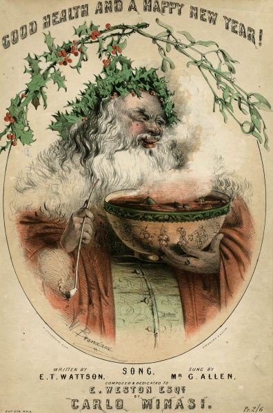 """GOOD HEALTH AND HAPPY NEW YEAR !"" A jolly, red-faced Father Christmas, smoking his long pipe and bearing a huge punchbowl full of hot punch. 1890s"
