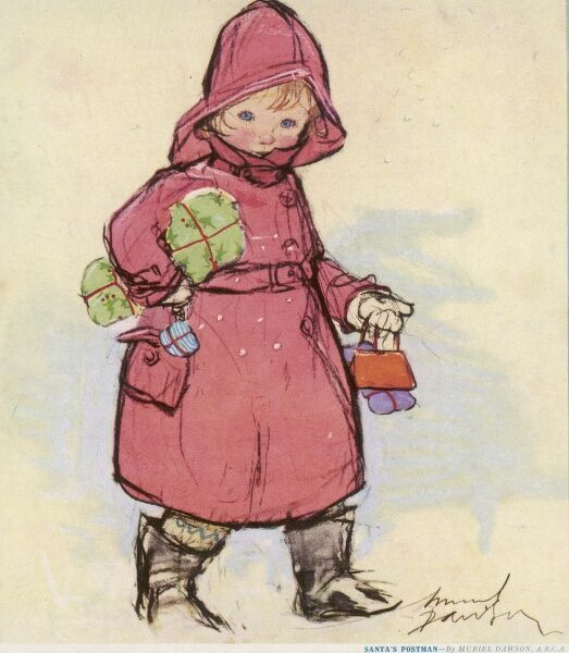 A small child wrapped up in a belted coat, sou'wester and boots makes her way through the snow laden with Christmas parcels and gift wrapped presents