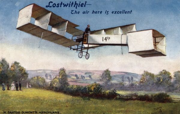 Santos-Dumont biplane 14bis, used as publicity by the Cornish town of Lostwithiel - 'the air here is excellent !' Date: late 19th century
