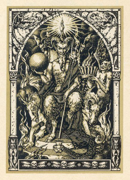 Satan presides at the Sabbat, attended by demons in human or animal shapes