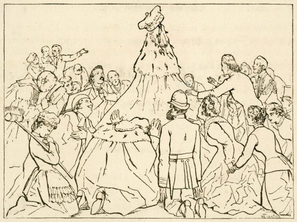 A satire on class distinction, showing the universal adoration of aristocratic status, based on a pile of fine clothes