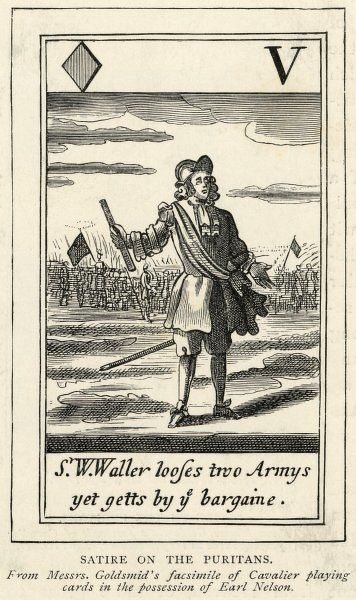 A satirical view of a Puritan and his military skills. 'S W Waller looses two armys yet getts by ye bargaine&#39
