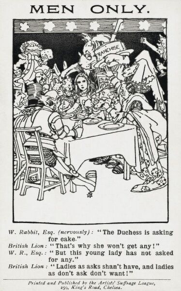 'Men Only'. A strange satire on the Women's Suffrage Movement, based around the 'Alice' stories by Lewis Carroll. The 'Duchess' (representing the vocal 'elder' Women's rights activists) is demanding 'cake