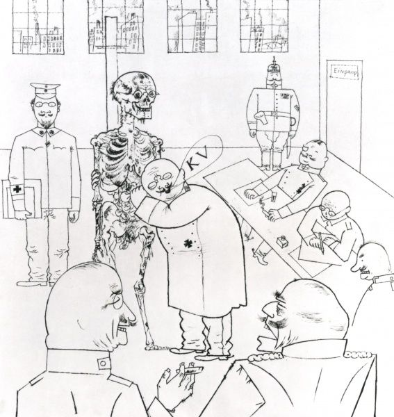 A satirical cartoon by the German artist George Grosz on German army recruitment, showing a doctor examining a decaying skeleton to see if it is fit for military service. Various army officers sit round, looking officious. Date: 1914-1918